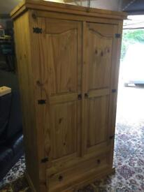 Pine wardrobe and side cabinets