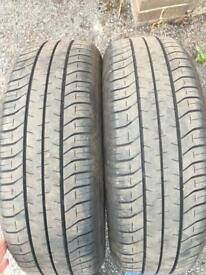 2x 195/65R15 part worn Bridgestone tyres