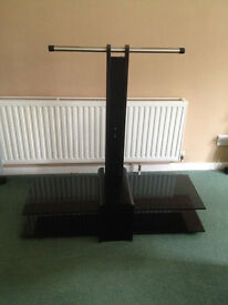 High quality black glass tv stand with 2 shelves - Ferndown, Dorset