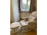 Cream Suede Gliding Nursing Chair and Stool