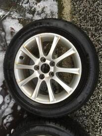 "16"" Saab, Vauxhall alloy wheels with Continental winter tyres"