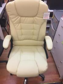 Large Leather office reciner chair-cream