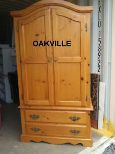 "HIGH PINE ARMOIRE 39x22x72""h Oakville Solid Light Wood Closet Wardrobe Chest of Drawers Dresser Bedroom Furniture"
