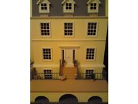 LARGE GEORGIAN STYLE DOLLS HOUSE WITH BASE AND FURNITURE