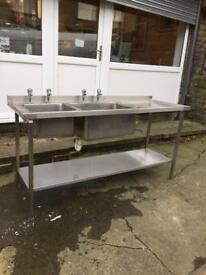 Commercial double bowl stainless steel sink