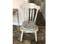 Shabby chic (off white and oak) table and two chairs.