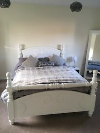 Solid white bed frame