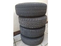 4 tyres with steels rims.