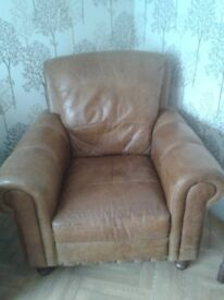 Tan leather suite, 2-seater sofa, armchair(s), square pouffe