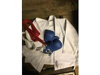 Used Children's Rupla Karate Suit, Gloves and Red + White Belts