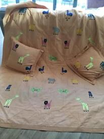 Animal appliqué throw and 2 matching cushions