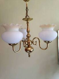 Traditional Brass 3 Arm Ceiling Light with Matching Double Wall Light