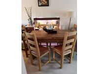 natural sleeper wood table 6 chairs with leather seats pick up only from bisley surrey