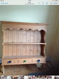Pine kitchen wall unit with 3 drawers. 1mtr x 1mtr