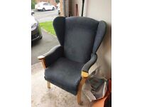 Wing backed fireside chair.