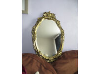 mirror, gold coloured mirror