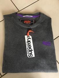 Brand new grey Superdry men's jumper medium