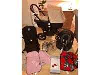 Immaculate black frame bugaboo cameleon 3 with car seat parasol and choice of fabrics