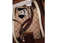 Beautiful Womens Gucci Monogram Embroidered Hi Top Trainers Rrp £305