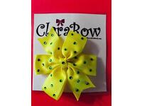 ClaraBow Yellow Bow with Diamanté Detailing
