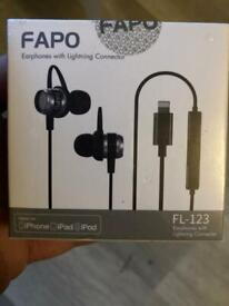 Headphones new with lightning adapter sealed