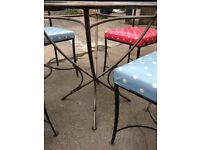 Glass Topped Wrought Iron Dining Table with 4 Chairs