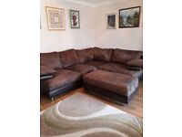 Corner Sofa Brown Leather and Fabric with Large Footstool