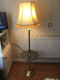 tall gold floor standing lamp with glass table in great condition