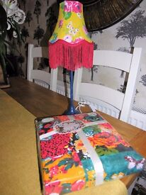 "New""Vintage Tapestry"" double duvet cover and matching lamp"