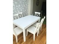 Dinning Table with 6 Chairs (INGOLF White Ikea)