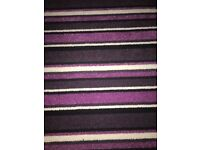 7ft by 8ft striped purple black white carpet roll ideal for small bed office ect