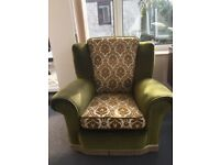 Vintage three-piece suite with footstool