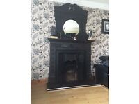 cast iron fireplace and mirror for sale