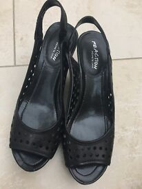 Shoes. Leather.Kenneth Cole black wedges. Sling back
