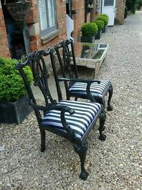 black and silver chairs