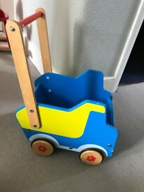 Blue wooden push-along storage truck