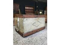 Vintage Antique Original Painted Sea Chest Trunk Coffee Table