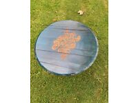 Harley davidson Upcycled whisky barrel top coffee table