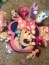 Girls bedroom toys and Minnie pillow bundle
