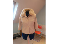 Cream box jacket with removeable faux fur collar