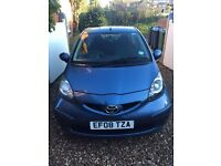 Toyota Aygo Blue 1.0 2008 Manual Petrol Air Conditioning and Bluetooth Good Condition