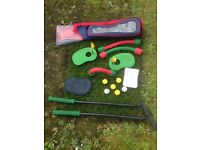 Wooden Quoits and Kids Mini Golf Set to play on the lawn or in a big room