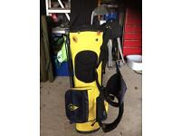 Junior Dunlop Golf Bag and 3 Clubs Yellow/Black