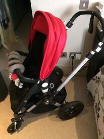 Bugaboo camaleon2 complete set with footmuff - black and red