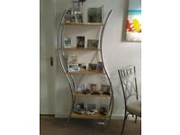 TALL OPEN SHELF DISPLAY UNIT IDEAL FOR SHOP OFFICE OR HOME, UNUSUAL DOUBLE CURVED DESIGN