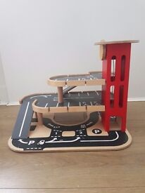 Wooden toy car Garage with working lift, used, kids play