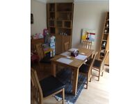 Wyoming Oak Stain Dining Table & 6 Chocolate Slatted Chairs