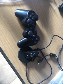 PS3 pad, ear piece and charging cable