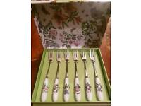 Portmeirion botanical garden pastry forks and cake slice.