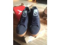 MENS BRAND NEW IN BOX PUMA SUADE STEPPER CLASSIC NAVY AND GOLD TRAINERS